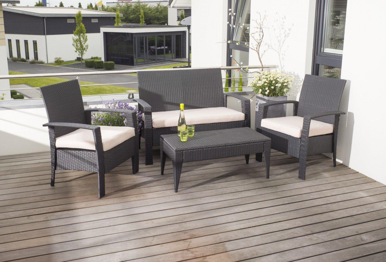 aktionen rattan lounge set bergamo schwarz 4 tlg. Black Bedroom Furniture Sets. Home Design Ideas